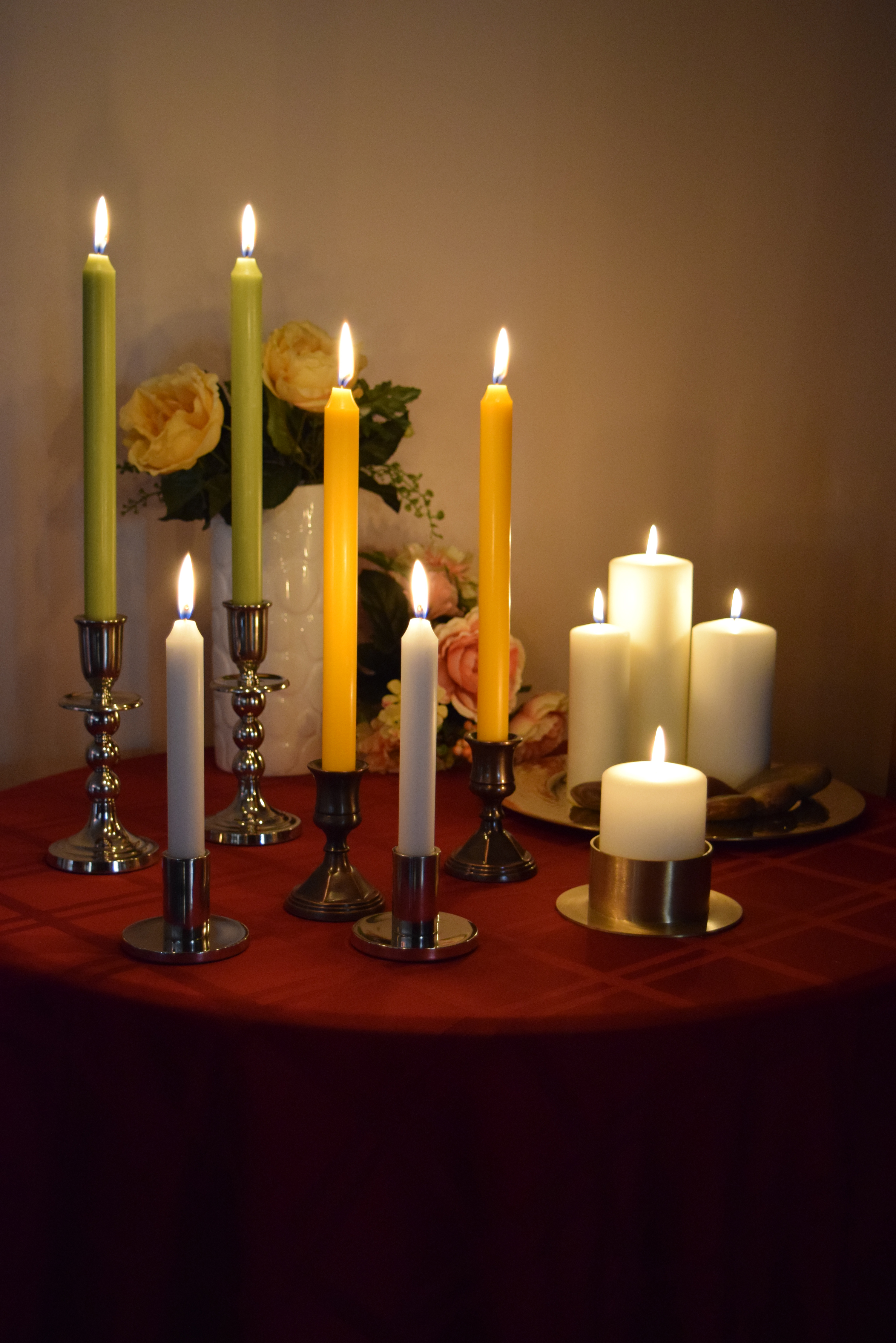 "Olive Green 12"" Taper Candles and Ivory 7"" Taper Candles"
