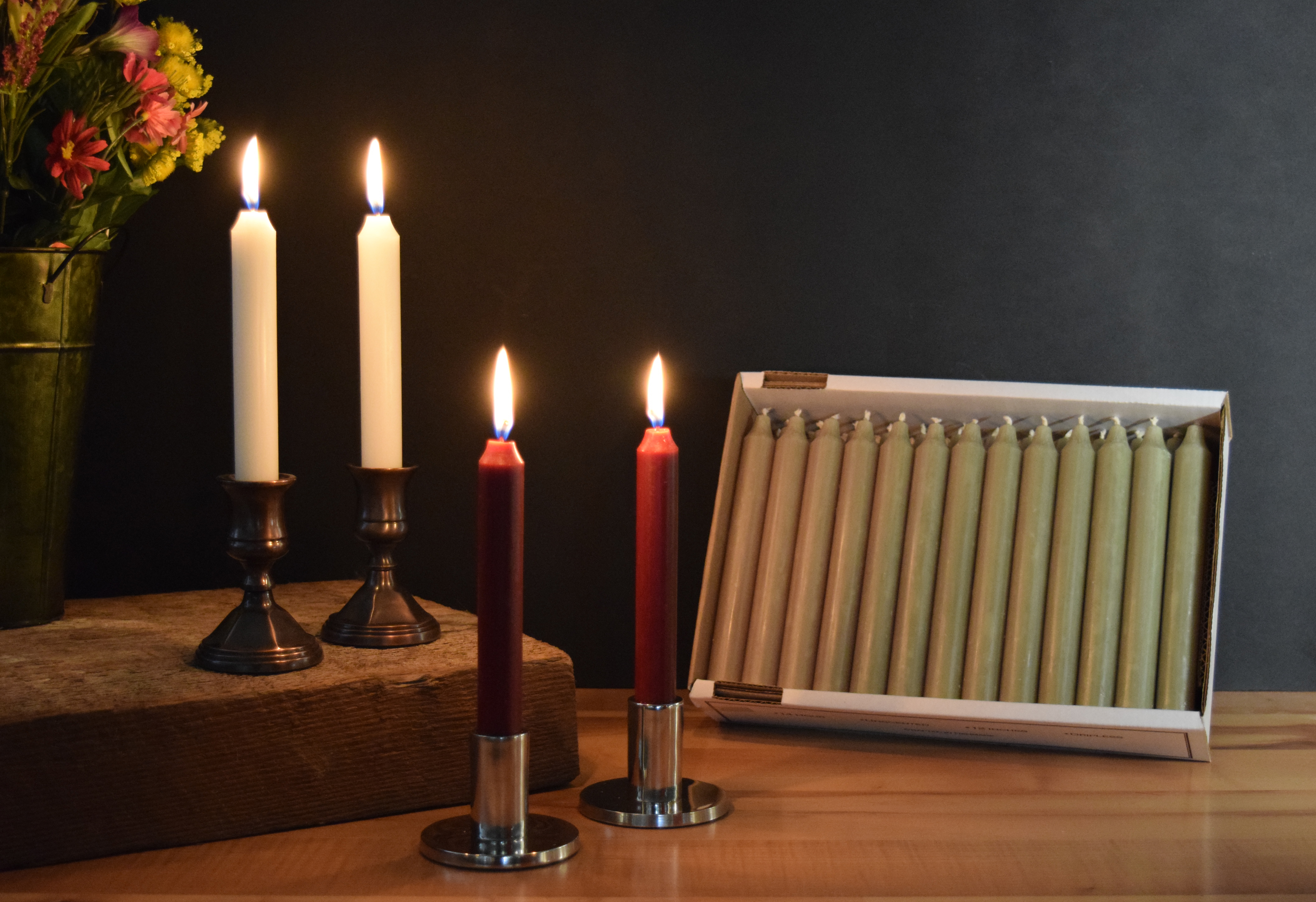 "7"" Ivory, Bordeaux and Olive Green Taper Candles"