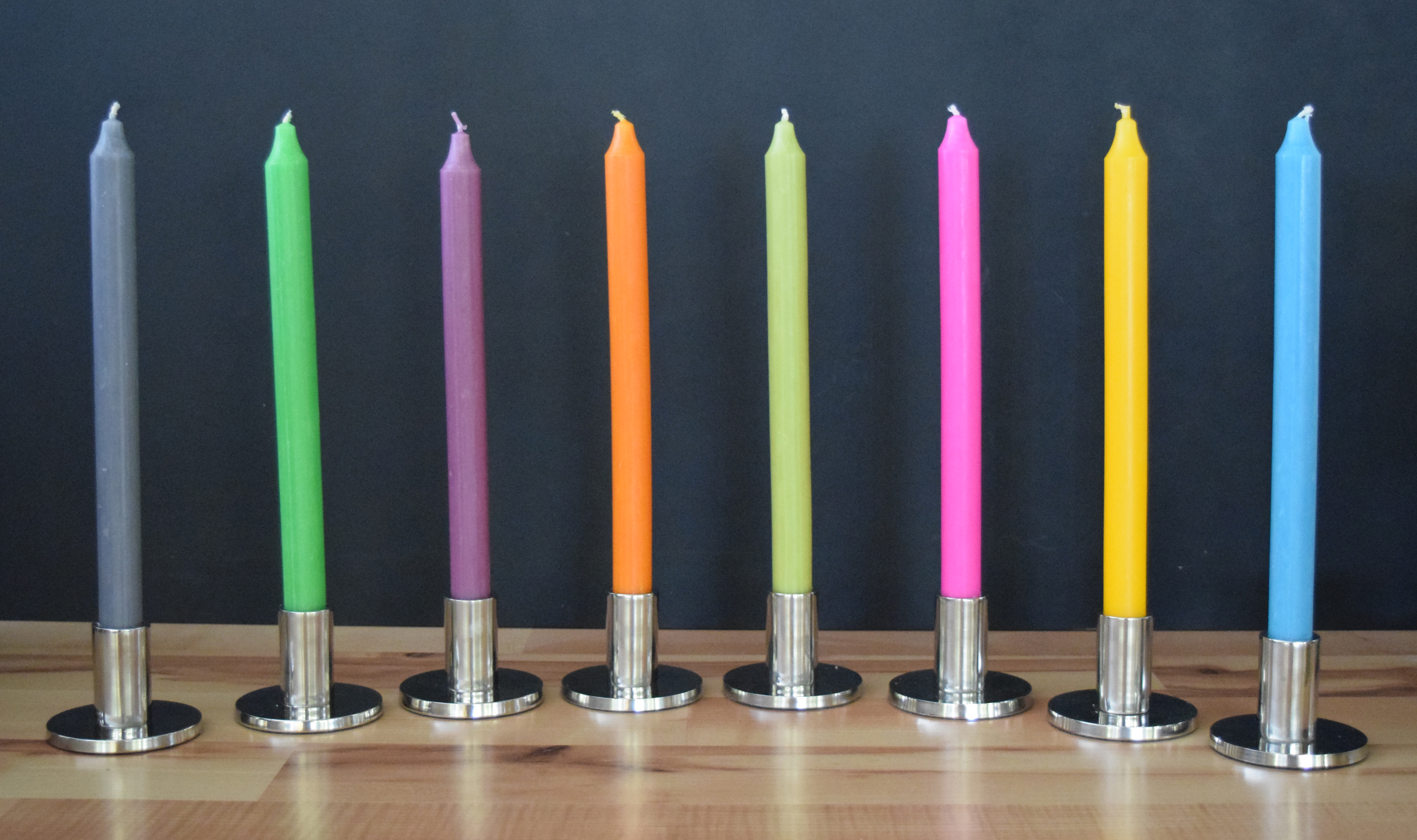 Assorted Colors Unscented Dripless Taper Candles